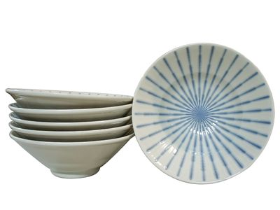 8 Inch Blue and White Starburst Ramen Bowl Set for Six