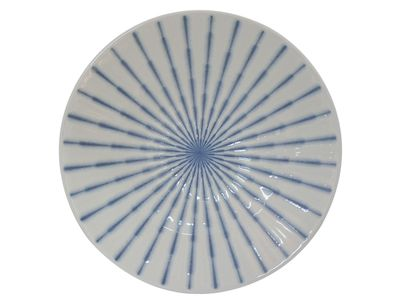 9-3/4 Inch Blue and White Starburst Japanese Serving Plate