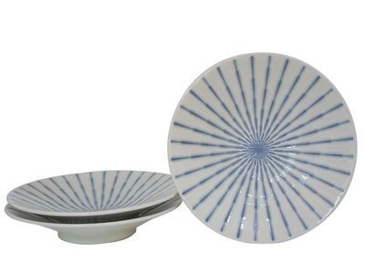 9-3/4 Inch Blue and White Starburst Japanese Shallow Serving Plates for Three