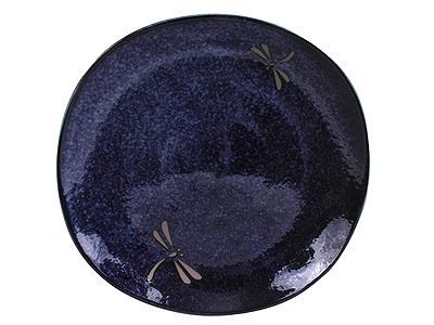 9-3/4 Inch Blue Dragonfly Ceramic Square Plate
