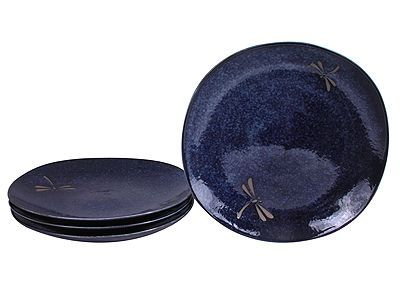 9-3/4 Inch Blue Dragonfly Ceramic Square Plate for Four