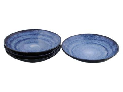9 Inch Large Shallow Japanese Starry Night Serving Bowl Set of Four