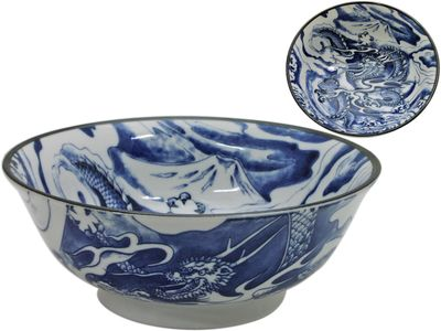 Blue and White Dragon Japanese Noodle Bowl