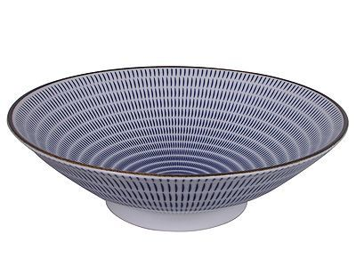 Blue and White Modern Spiral Shallow Japanese Serving Bowl
