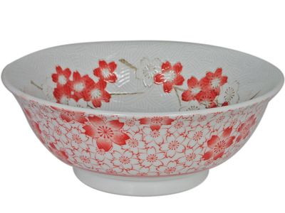 Red Cherry Blossom Japanese Ramen Bowl (LAST 8 BOWLS)