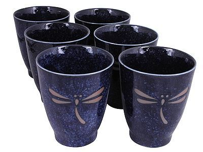 Blue Dragonfly Japanese Tea Cup Set for Six