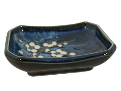 Dark Blue Cherry Blossom Rectangular Soy Sauce Dish