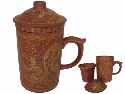 Golden Dragon Yixing Tea Mug with Strainer and Lid (Reddish Brown)