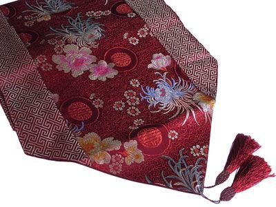Gorgeous Maroon Lucky Chinese Floral Motif Asian Table Runner