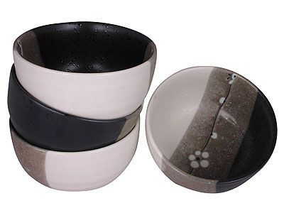 Modern and Stylish Japanese Cherry Blossom Ceramic Bowls Set for Four