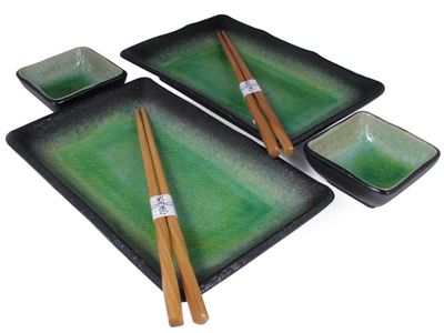 Mossy Cave Crackle Glazed Earthen Sushi Set for Two