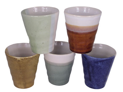 Natural Earthen Hues Tea Cup Set for Four