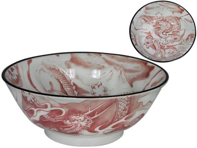 Red and White Dragon Japanese Ramen Bowl