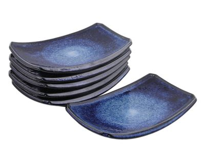 7-3/8 Inch Starry Night Japanese Sushi Plates Set for Six