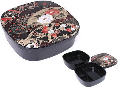 Three Compartment Black Japanese Lacquer Style Container