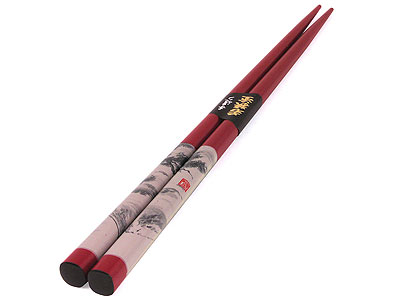 Traditional Ink Painted Mountain Scene Red Chopsticks (ONLY ONE)
