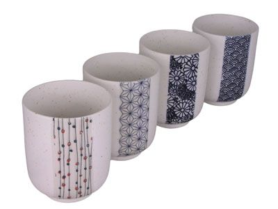 Traditional Japanese Patterns Speckled Tea Cup Set for Four