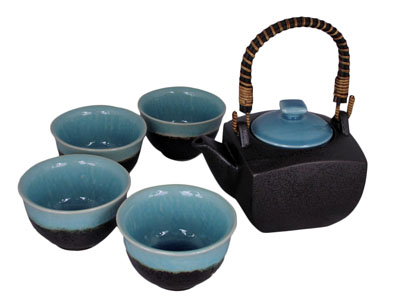 Turquoise Sky and Earth Tea Set for Four