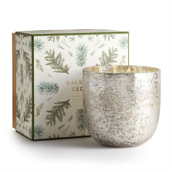Illume Balsam and Cedar Luxe Mercury Glass Candle