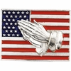 14K White Gold American Flag with Praying Hands Pin