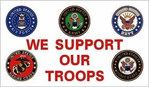 3x5 Flag We Support Our Troops Branches