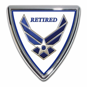 Air Force Retired Chrome Emblem