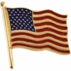 American Flag Lapel Pin 14K Gold Large