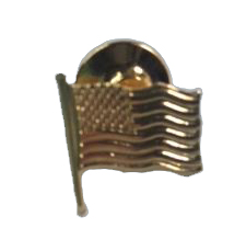 American Flag Lapel Pin 14K Gold without Enamel