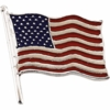 American Flag Lapel Pin 14K White Gold Large