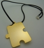 Autism Asymmetrical Puzzle Pendant Necklace Gold