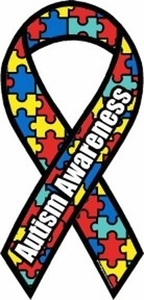 "Autism Awareness Mini Ribbon Magnet 2"" x 4"""