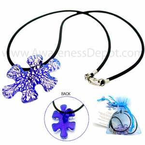 Autism Hand Blown Glass Necklace
