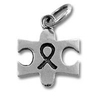 Autism Puzzle Ribbon Sterling Silver Charm