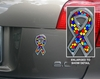 Autism Ribbon Chrome Automobile Emblem