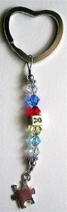 Autism Sterling Silver Key Chain with Swarovski Crystals