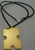 Autism Symmetrical Puzzle Piece Pendant Necklace Gold