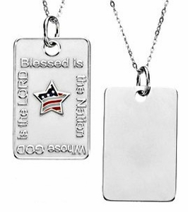 Blessed is the Nation Dog Tag in Sterling Silver with Chain