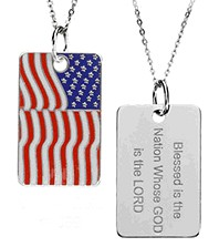 Blessed is the Nation Flag Dog Tag in Sterling Silver with Chain