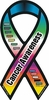 "Cancer Awareness Large Ribbon Static Decal 3""x 6"""