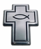 Cross with Christian Fish Chrome Automobile Emblem