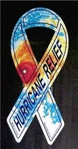 "Hurricane Relief Large Ribbon Magnet 4"" x 8"""