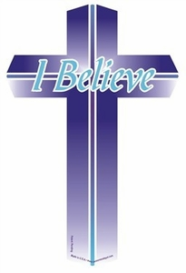 "I Believe Mini Cross Magnet 2"" x 4"""