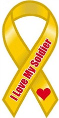 """I Love My Soldier Large Ribbon Magnet 4"""" x 8"""""""