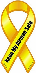 "Keep My Airman Safe Large Ribbon Magnet 4"" x 8"""