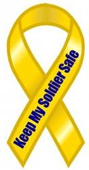 """Keep My Soldier Safe Extra Large Ribbon Magnet 5"""" x 11"""""""