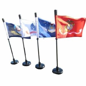 Military Magnetic Car Flag - Black Pole