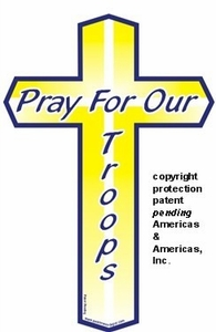 "Pray For Our Troops Mini Cross Magnet 2"" x 4"""