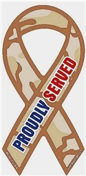 """Proudly Served Camouflage Extra Large Ribbon Magnet 5"""" x 11"""""""