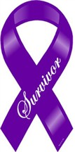 "Purple Survivor Large Ribbon Magnet 4""x 8"""