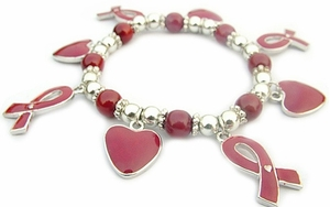Red Ribbon/Heart Awareness Bracelet